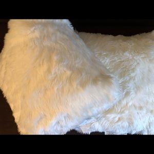 2 Target white fur pillows